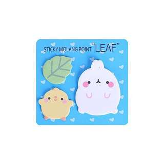 Cute Molang bunny sticky note memo pad blue pink strawberry