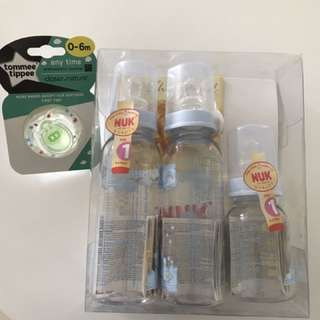 NUK bottles and Tommee Tippee Pacifier