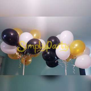BLACK, WHITE AND GOLD HELIUM LATEX BALLOONS