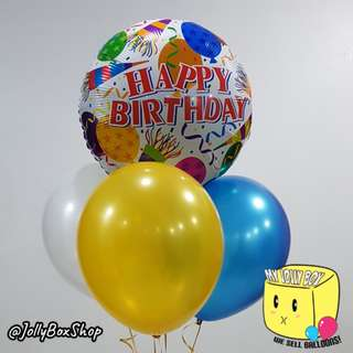 18 Inch Round Happy Birthday Wording Balloon and 3 Latex Balloons | Helium Filled | Balloons For Sale | My Jolly Box 98573128 | Party Decorations