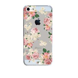 Clear hard Plastic Case Cover iphone 5 5s 5 se 6 6s 7 7 plus bunga 10