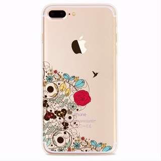Clear Soft TPU Rubber Case Cover iphone 8 dan 8 plus bunga floral 7