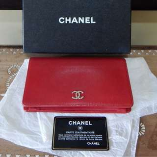 CHANEL red caviar brilliant L yen holder wallet (#15)