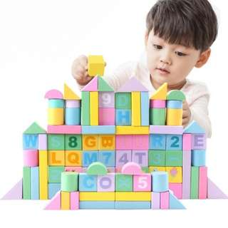 BN 100pcs Pastel Macaron Wooden Building Blocks