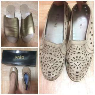 TAKE ALL‼️Authentic Celine Paris Slipon, Janeo Ballet Flats and Teefs Gold Flats