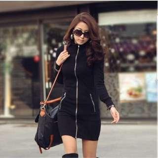 SALE! New Black Zipper Jacket Dress FREE SIZE