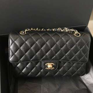 Authentic Chanel Classic Medium Black Caviar Ghw Bag
