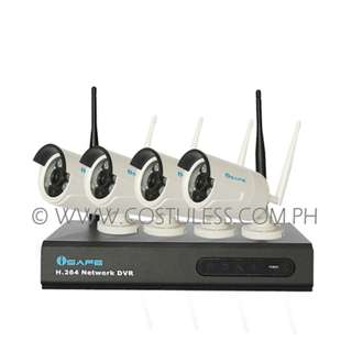 iSAFE CCTV Camera Package 4CH Real-Time AHD WIFI DVR KIT W/ 4 Weatherproof Cameras