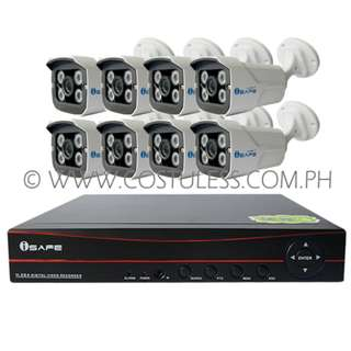 iSAFE CCTV Camera Package 4CH Real-Time AHD DVR KIT W/ 4 Weatherproof Cameras