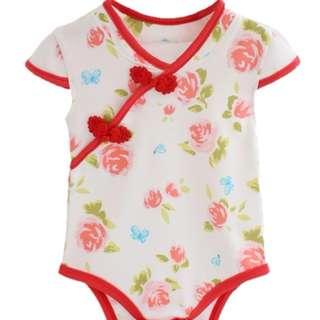 CHEONGSAM STYLE + FLOWER DESIGN BABY GIRL ROMPER - RED