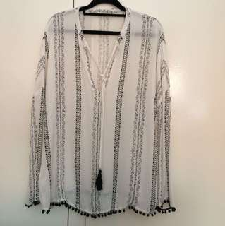 White/black shirt with beaded details