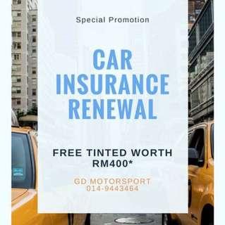 Car Insurance Renewal FREE TINTED RM400