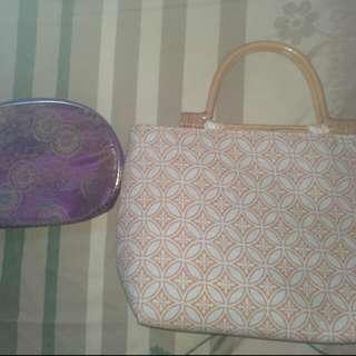 HAND BAG kayu dan dompet kain batik