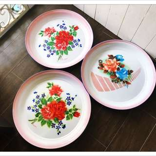 Vintage Enamel Floral Trays