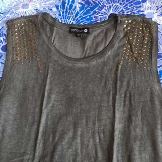 Green-Brown Shirt with Studded Shoulders