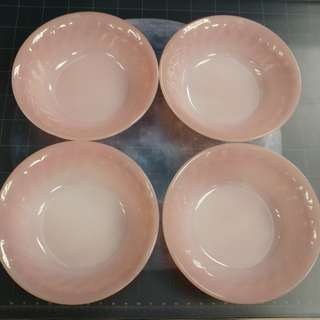"""Fire King Anchor Hocking vintage,  5"""" small bowls / dessert bowls  4pcs,  color : PINK, made in USA"""