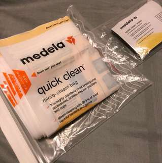 Medela micro steam bags and Medela quick clean wipes