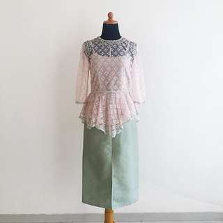 ORI STUDIO 133 BIYAN TOP + GREEN SKIRT