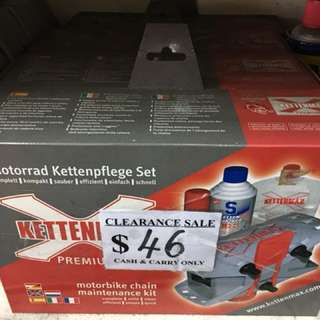 Kettenmax motorbike chain maintenance kit usual price $92. Now $46 cash and carry. Last 4pcs