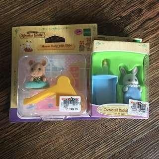 Sylvanian Families Mouse Baby slide + cottontail rabbit