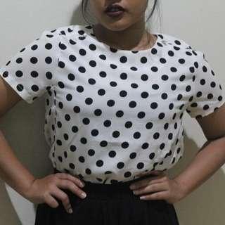 blouse kaos atasan top blus polkadot hitam putih