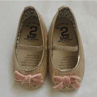 Cotton On gold with pink bow