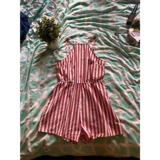 Red & white stripe playsuit