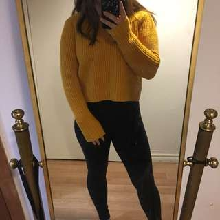 F21 Cropped Yellow Sweater
