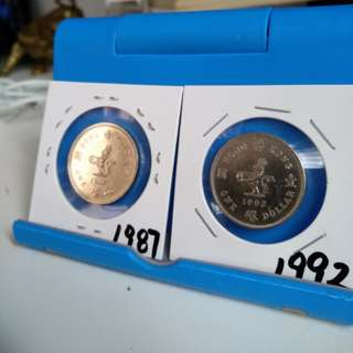 1987, 92 one hong kong coins