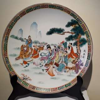 VINTAGE mid 1900s Chinese display plate of gods  fixed price  self collection size diameter 32cm xH 5cm it's a original with gold lining at edge