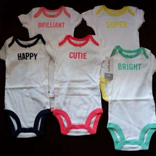 Carter's 5-Pack Short-Sleeve Original Bodysuits (NB) BNew with Tag