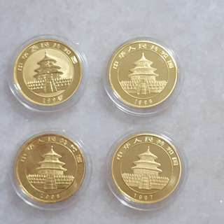 Panda gold coins. 0.5 oz. 1994 -1997 - sharing only.