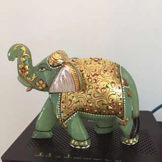 Green jade Ganesha with gold paint(4 1/2 by 5 1/2 inches )