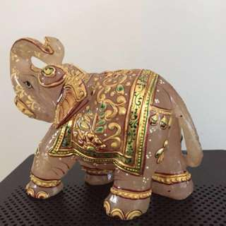 Rose quartz elephant  gold painted (4 1/4 inches by 4 1/2 inches )