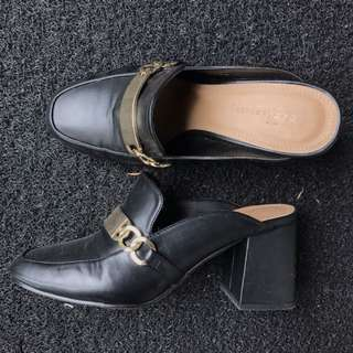 buckled chunky heeled mules