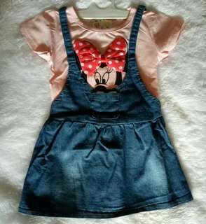 Dress overall import minnie mouse