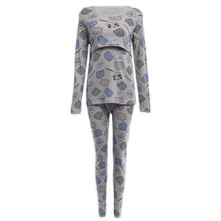 ALLOVER PRINT COTTON BREATHABLE MATERNITY PAJAMAS FOR WOMEN (GRAY) XL
