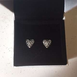 Pandora Snowflake Heart Earrings