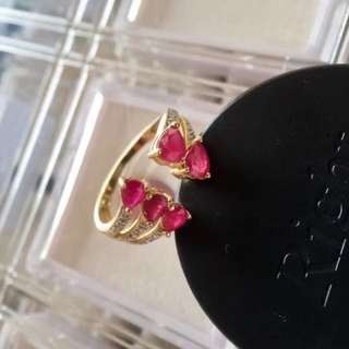 Ruby Ring with 14k Gold and diamonds