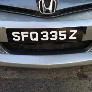 SFQ 335Z Number Plate For sale