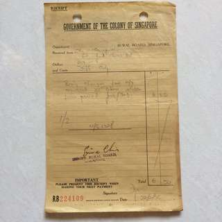 Vintage Old Receipt - old Receipt issued by Government of the Colony of Singapore dated in year 1959