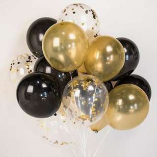 Confetti gold black Balloon