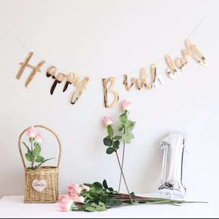 Rose Gold Happy Birthday Metallic Banner Champagne Gold