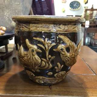 Vintage mandarin duck brown Glazed pot