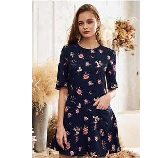 (BNIT) SCARDIA FLORAL PRINTED DROPWAIST DRESS SIZE M
