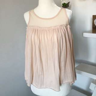 Urban Outfitters Pins And Needles Size Medium Mesh Pleated Tank Top Ballerina Pink