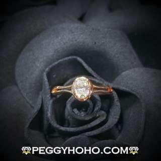 【Peggyhoho】全新18K玫瑰金單粒44份蛋型鑽石戒指 玫瑰金系列  超值好火