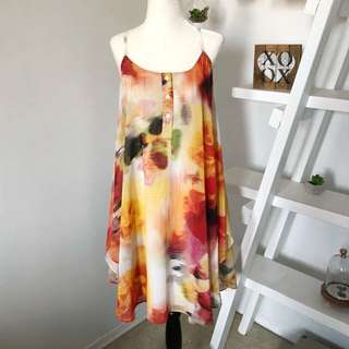 Alice and Olivia Dress Size Small Watercolour Colourful Button Front