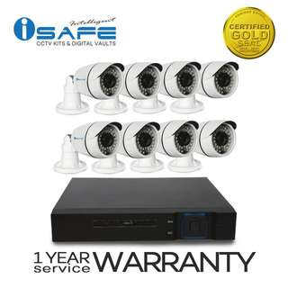 iSAFE HD8CHKITP7-BULLET High-Definition Security System CCTV Kit with 8 PCS Indoor/Outdoor 1.0-Mega Pixel Bullet type Camera, 8 Channel High quality DVR (Black)