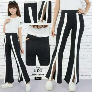 CE TRACKPANTS gucci hitam - cotton pants - kulot side stripe pants